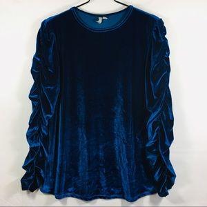 ASOS Blue Velvet Ruched Long Sleeve Top